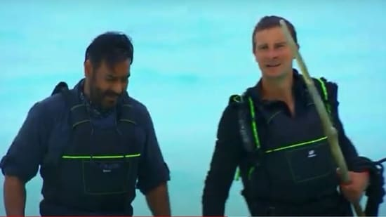 Ajay Devgn and Bear Grylls on Into The Wild with Bear Grylls.