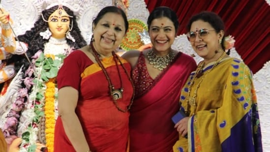 Kajol with her relatives on Tuesday. The family comes together for Durga Puja festivities every year. (Varinder Chawla)