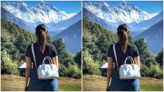 """Parineeti Chopra, who is currently in the hills, shooting with her co-stars Anupam Kher and Boman Irani, had a personal moment with just herself and the mountains. """"Good morning Mr. Everest,"""" Parineeti wrote in her caption.(Instagram/@parineetichopra)"""