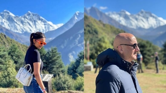 Parineeti Chopra and Anupam Kher pose in backdrop of the Mt Everest.