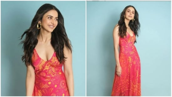 """Rakul Preet is an absolute fashionista. While the actor can carry all attires with equal poise and elegance, she believes in the need to be """"classic."""" Rakul Preet's Instagram profile is replete with snippets of her fashion photoshoots, and each of them manage to make her Instagram family drool like anything. With every post she makes, she makes sure to put fashion police on immediate alert. On Tuesday, Rakul Preet drove our midweek blues away with yet another stunning set of pictures.(Instagram/@rakulpreet)"""