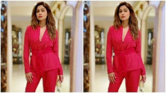 Shamita Shetty defines 'beauty, fearlessness, courage' in a red co-ord(Instagram/@shamitashetty_official)