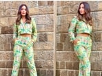 Hina Khan opted for a cropped jacket which she teamed with high rise cropped pants.(Instagram/@realhinakhan)