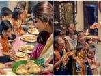 Shilpa Shetty feedi pooris to the kids.