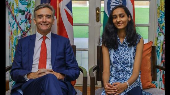 Alex Ellis, British High Commissioner to India with Aditi Maheshwari, winner of the British High Commissioner for a Day competition (PHOTO: Raajessh Kashyap/HT)