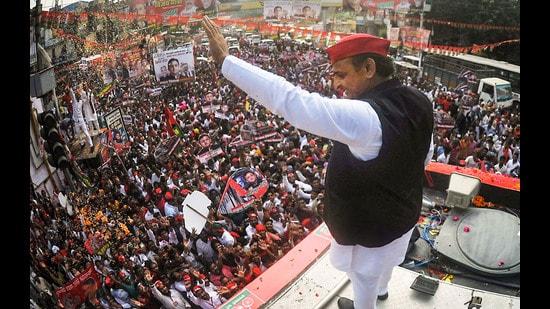 amajwadi Party president Akhilesh Yadav in Kanpur, October 12, 2021. (PTI)