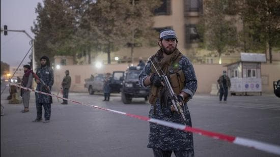 Taliban fighters guard Serena Hotel in Kabul, Afghanistan. At the G20 special summit, China called for a zero-tolerance approach to terrorism in Afghanistan. (AP)