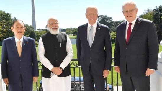 Japanese Prime Minister Yoshihide Suga, Indian Prime Minister Narendra Modi, US President Joe Biden and Australian Prime Minister Scott Morrison pose before the Quad summit, in Washington DC. (ANI)(HT_PRINT)