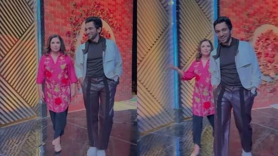 Farah Khan and Pratik Gandhi on the sets of Zee Comedy Show.