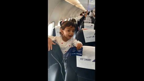 The image shows the girl looking at her pilot dad.(Instagram/@shanaya_motihar)