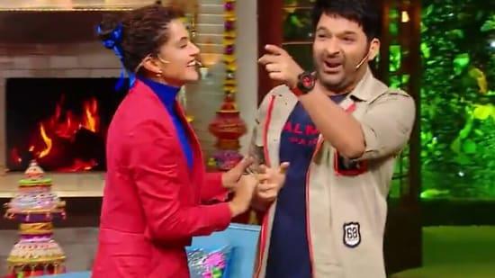 Taapsee Pannu and Kapil Sharma on The Kapil Sharma Show.