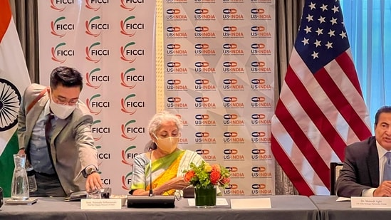 Boston: Union Finance Minister Nirmala Sitharaman during the investors roundtable meeting hosted by FICCI and US-India Strategic Partnership Forum (USISPF), in Boston, Tuesday, Oct 12, 2021. (PTI Photo)(PTI10_12_2021_000201B)(PTI)