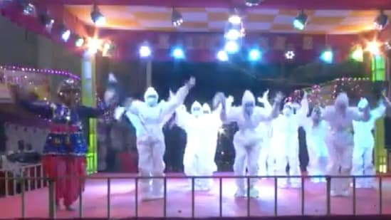 A video showed a group of girls dancing 'garba' to a folk song in PPE kits(ANI)