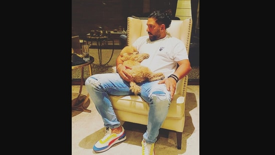 The image shows Yuvraj Singh with his dog.(Instagram/@yuvisofficial)