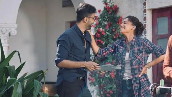 Abhishek Banerjee and Taapsee Pannu in Rashmi Rocket.