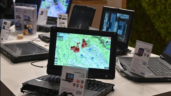 """Computers at the International Cybersecurity Forum (FIC) in Lille, northern France, on September 7, 2021. India, UK, Germany and Australia have taken a """"lead"""" role in helping the US organise a global meeting on countering ransomware, a key initiative of US President Joe Biden. (AFP/FILE)"""