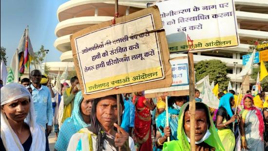 Over 200 villagers and tribals from north Chhattisgarh's Hasdeo Aranya area reached state capital Raipur to demand that the government cancel the Hasdeo Aranya coal mining projects