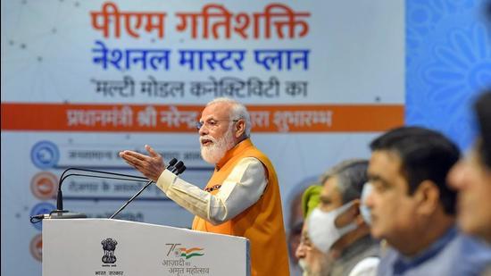 Prime Minister Narendra Modi addresses the launch of the PM Gati Shakti national master plan at Pragati Maidan, New Delhi. (PTI)