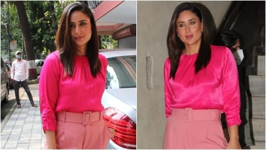 Kareena Kapoor's hot pink top and belted pants for outing in Mumbai cost <span class='webrupee'>₹</span>5k(HT Photo/Varinder Chawla)