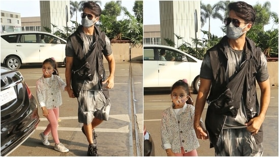 Shahid completed his outfit with a black sleeveless jacket, over-the-body bag, sunglasses and chunky black sneakers.  As far as the couple's kids are concerned, they looked cute as ever.  (HT Photo/Varinder Chawla)