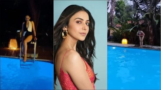 Rakul Preet Singh turns 'water baby' in midnight, scarlet tummy control swimsuit(Instagram/rakulpreet)