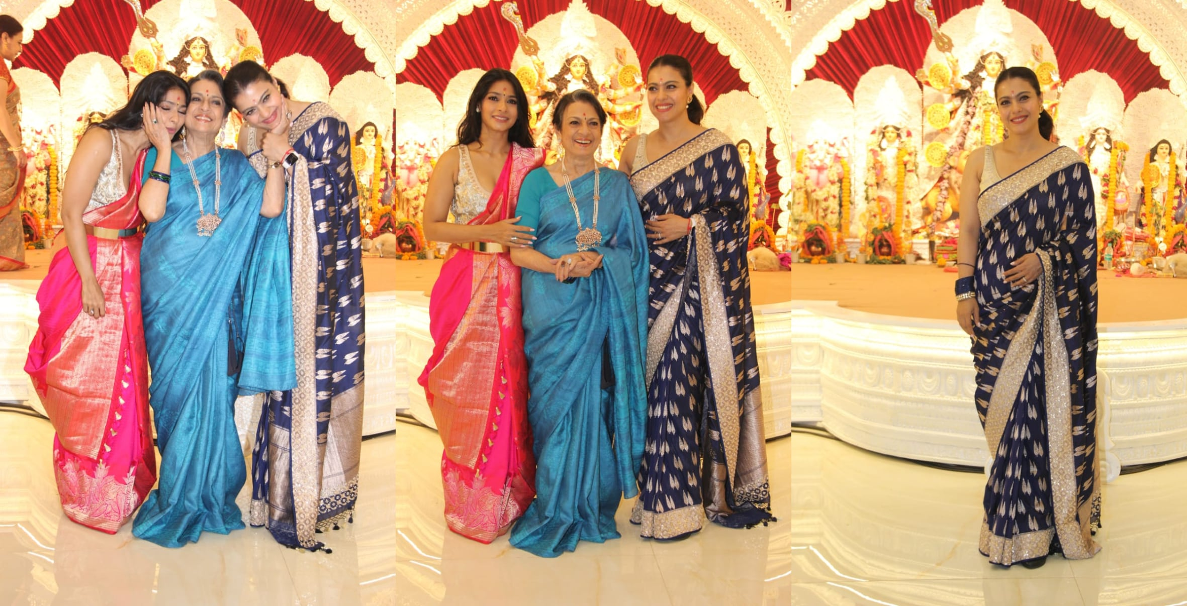 Kajol with her mother Tanuja and sister Tanishaa Mukerji.(Varinder Chawla)