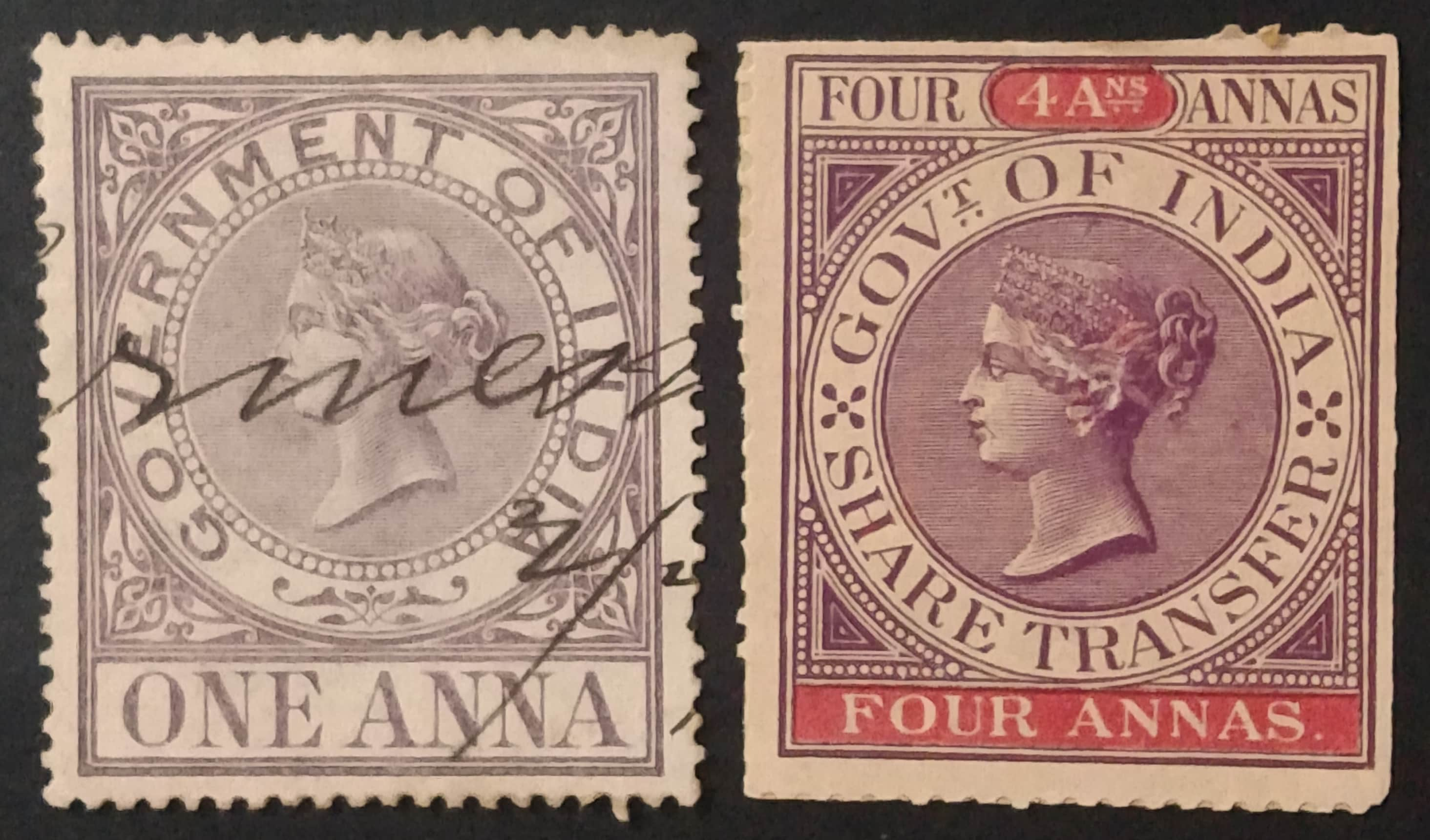 Two 19th century Victorian stamps from the collection of Parminder Singh (Bikku), priced at one anna and four annas.