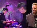 (L) BTS members Jungkook and Suga trying their hand on the drums, (R) Coldplay's Chris Martin with Jin.