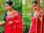 Recently, Vidya Balan blessed our Instagram feed with a few photos of herself in a gorgeous pink saree.(Instagram/@balanvidya)