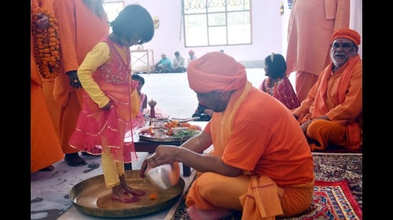 If we all have a feeling of sanctity and see girls and women as manifestations of goddess, many frequent incidents happening against them can be curbed, says UP chief minister (HT photo)