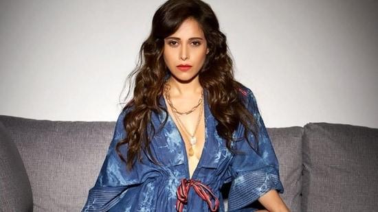 Nushrratt Bharuccha goes shirtless to sizzle only in a denim Kimono jacket(Instagram/nushrrattbharuccha)