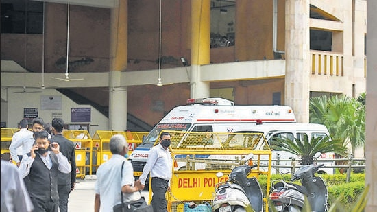 An ambulance is seen inside the Rohini district court. Two gunmen dressed as lawyers fired at gangster Jitender Gogi in New Delhi on September 24, 2021. (HT File)