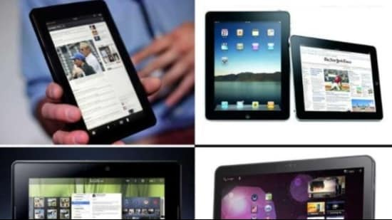 Distribution of tablets: Besides collecting information about eligible students, higher education institutions have also been asked to verify data of beneficiaries before it is forwarded. (HT File Photo)