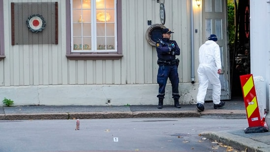 Police near a site after a man killed several people, in Kongsberg, Norway, Thursday, Oct. 14, 2021.(AP)