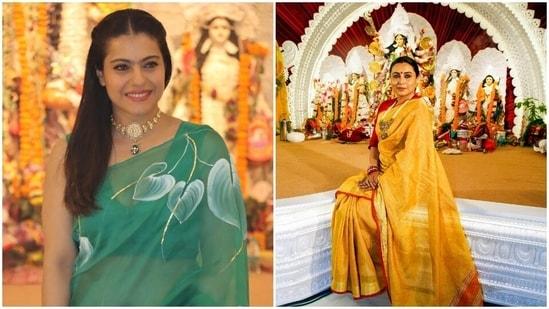Kajol and Rani Mukerji at a Durga Puja pandal in Mumbai.(Varinder Chawla. )