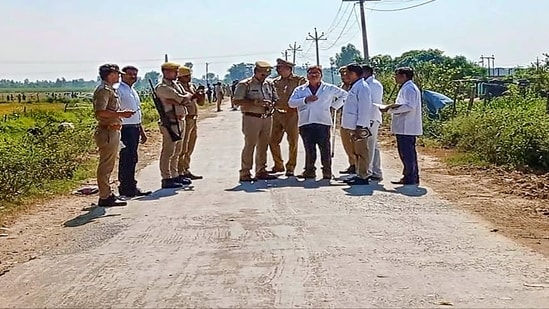 The special investigation team (SIT) attempts to recreate the sequence of events leading to the incident in Lakhimpur Kheri, Uttar Pradesh as part of their ongoing investigation.(PTI)