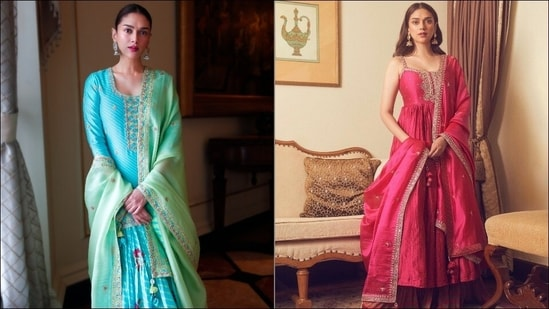 Aditi Rao Hydari is Dussehra fashion goals in blue gharara, strappy pink sharara(Punit Balana)