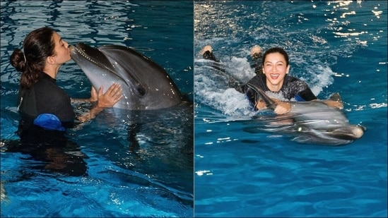 Gauahar Khan's Dubai travel diary is all about kissing, swimming with dolphins(Instagram/gauaharkhan)