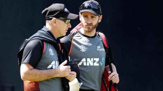 New Zealand's Kane Williamson and head coach Gary Stead during nets.(Reuters)