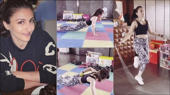 Soha Ali Khan makes 'dull' workout fun with twist to skipping, pushups exercises(Instagram/sakpataudi)