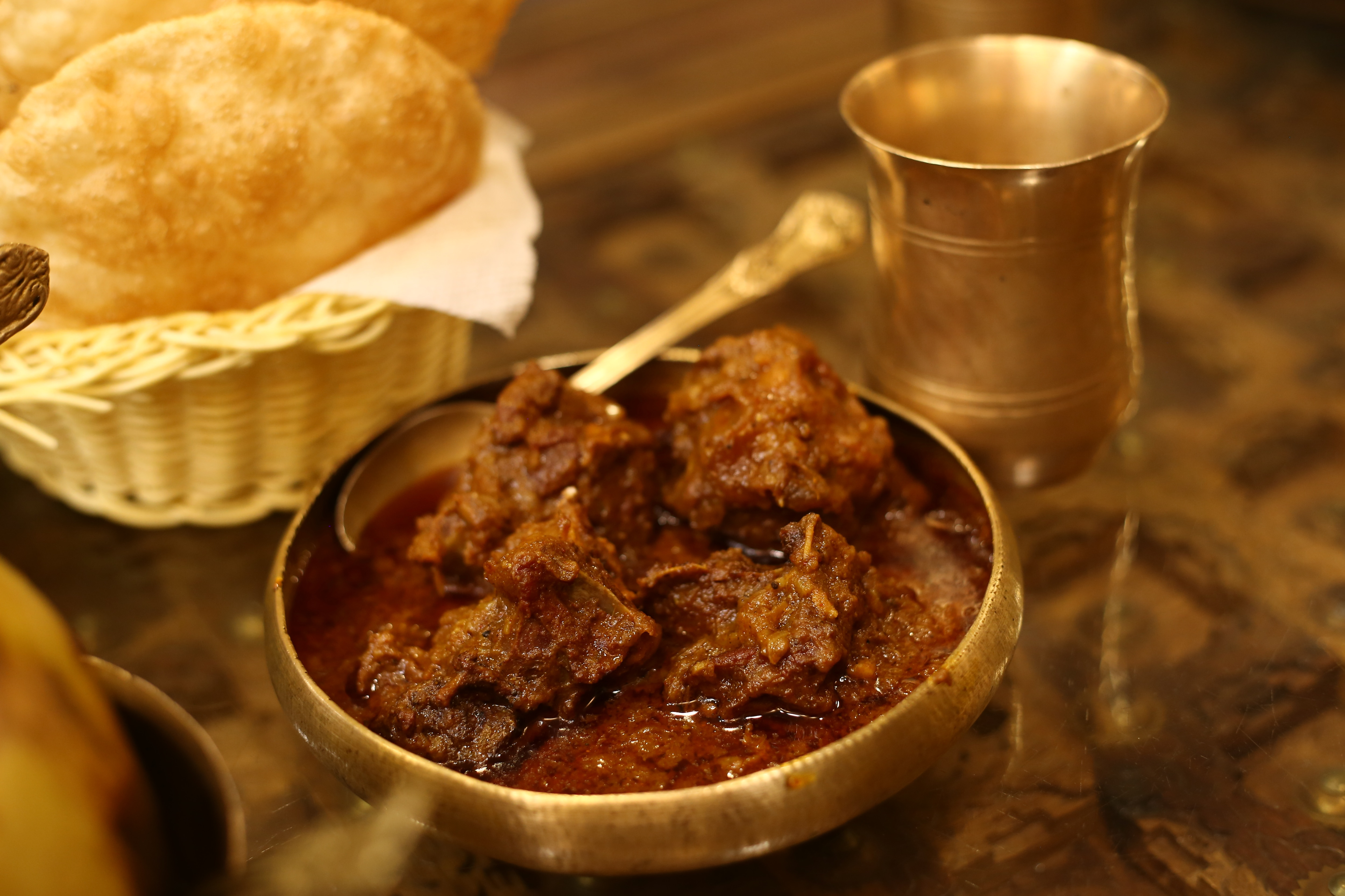 Kosha mutton is usually enjoyed with luchi and has a rich, spicy gravy.  (Photo: Rajesh Kashyap/HT)