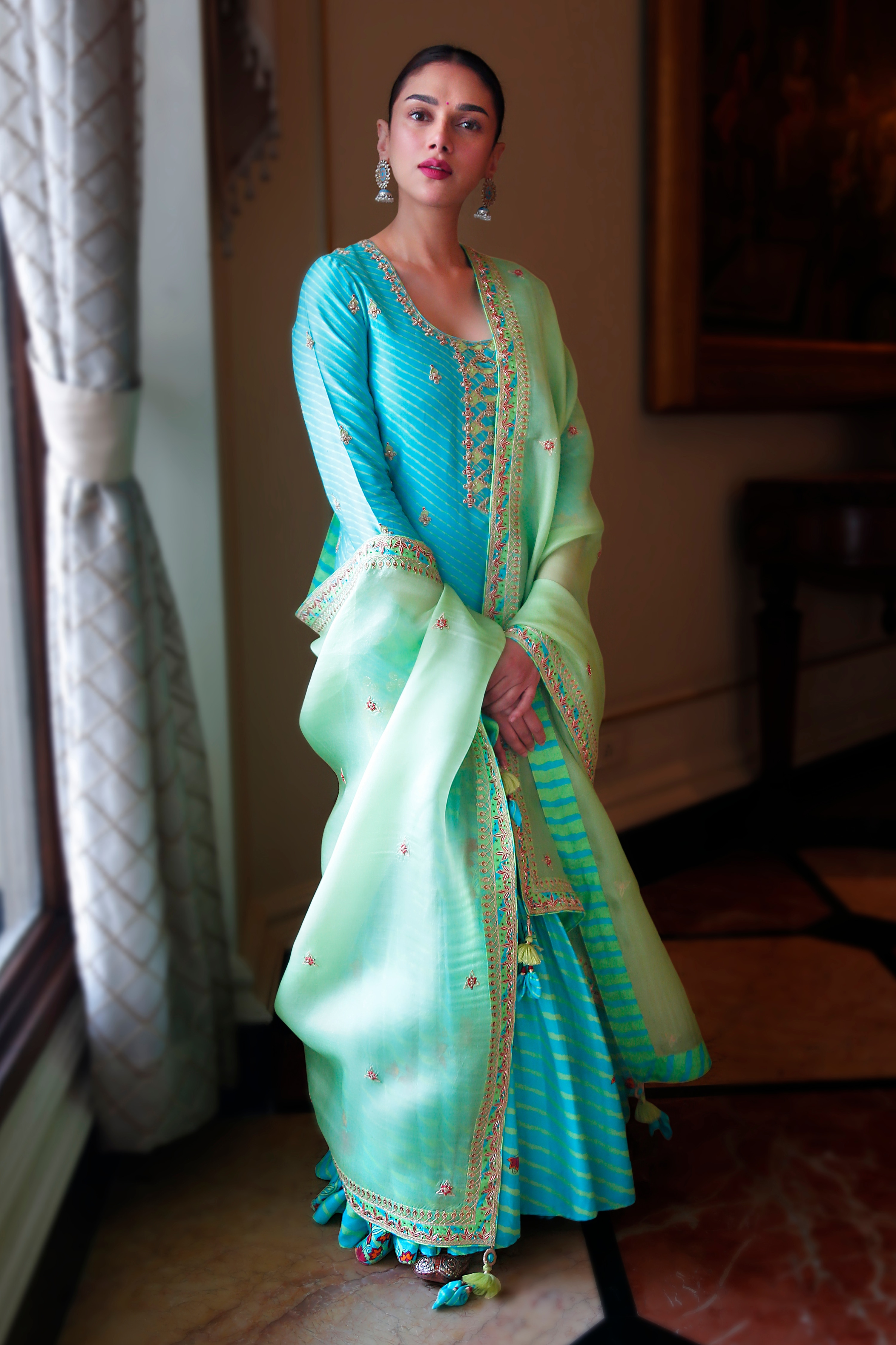 Aditi Rao Hydari in turquoise gharara set(Team Punit Balana)