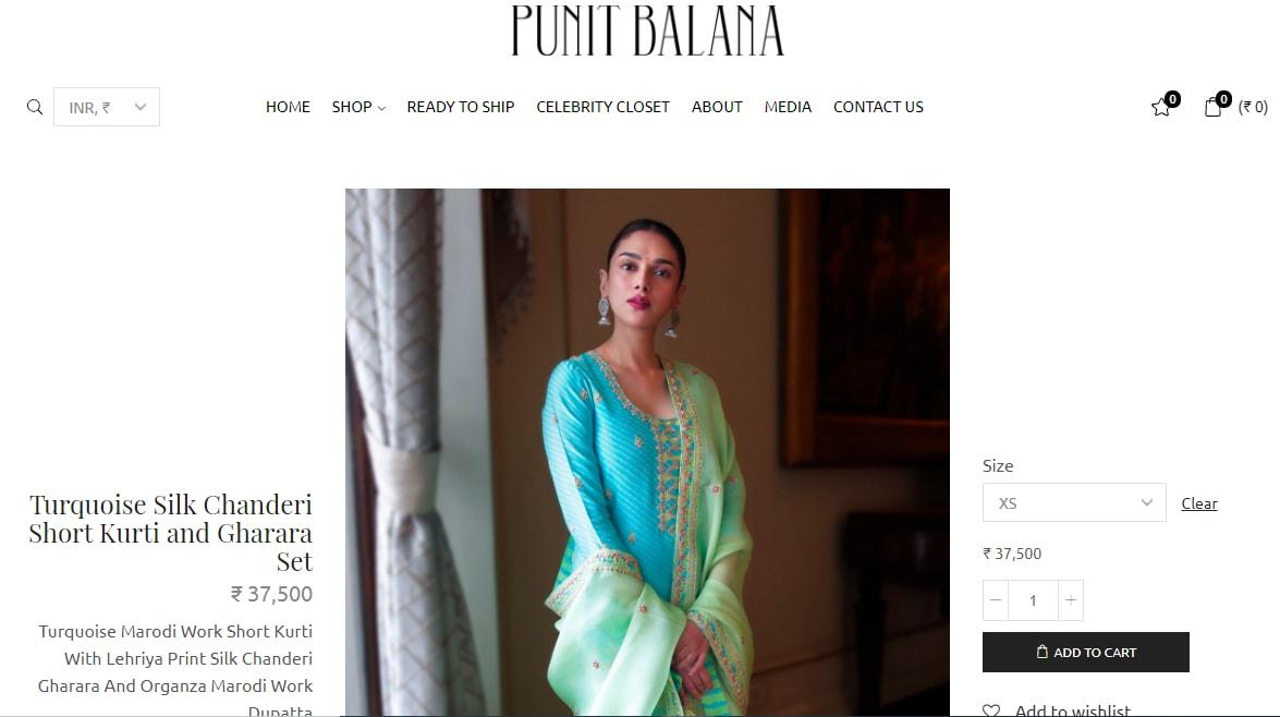 Aditi Rao Hydari's turquoise gharara set from Punit Balana(punitbalana.in)