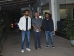 Vicky Kaushal with directors Shoojit Sircar and Rajkumar Hirani at the screening of Sardar Udham.(Varinder Chawla)