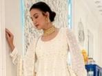 Dussehra 2021: Gauahar Khan decks up in white. Bonus, her wedding shoes(Instagram/@gauaharkhan)