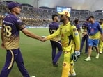 MS Dhoni shakes hands with Kolkata Knight Riders' Tim Southee. (CSK/Twitter)