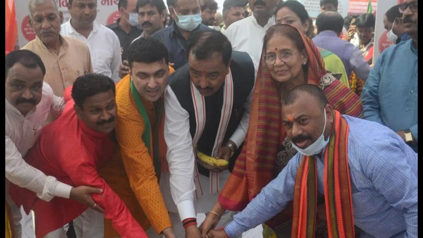 Uttar Pradesh deputy chief minister lays foundation stone of railway overbridge, flyover in Prayagraj