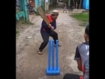 The image taken from the video shows the kid bowling.(Screengrab)