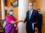 World Bank president David Malpass met Nirmala Sitharaman in Washington.(David Malpass/Twitter)