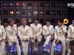 BTS members Jimin, RM, Jungkook, Jin, Suga, J-Hope and V on the sets of MTV Unplugged.